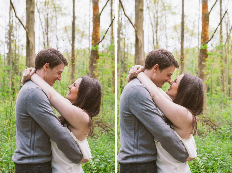 Couple in woods during engagement shoot