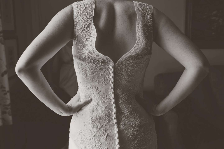 Back of Kenneth Winston wedding dress for Harry Potter wedding