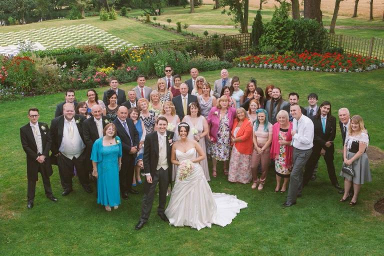 Big group shot at Laura Ashley The Manor wedding