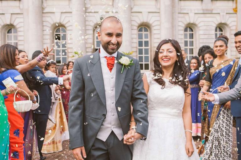 Confetti shot at Moor Park Mansion wedding