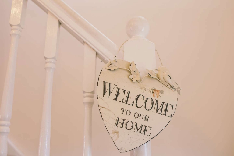 Welcome to our home sign for Cornwall wedding