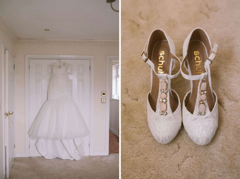 Bride's dress and shoes for Cornwall wedding