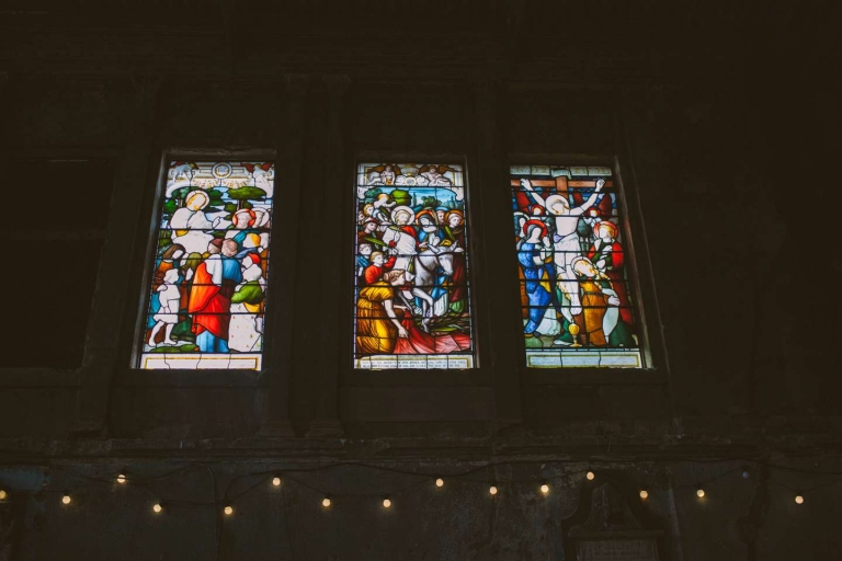 Stained glass window inside the Asylum Chapel wedding venue