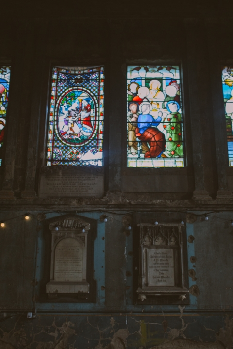 Stained glass windows inside Asylum wedding venue in London