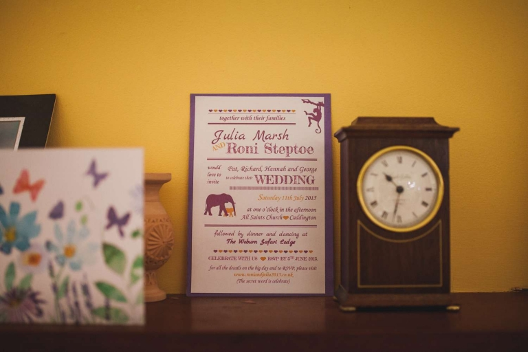 Invitation for Woburn Safari Park wedding