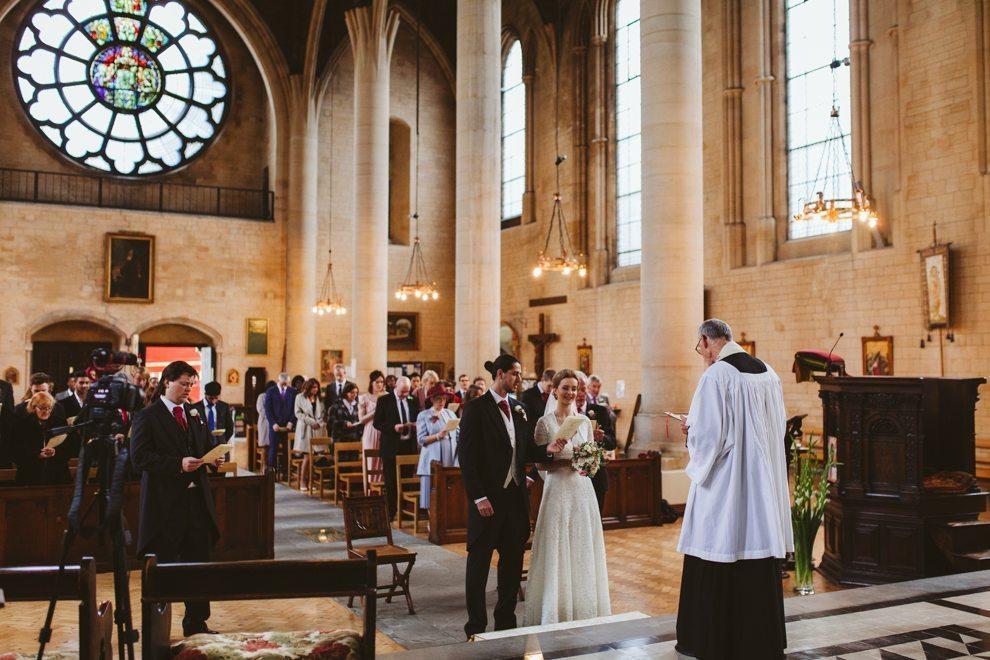 Wide shot of church wedding ceremony in Gospel Oak, London