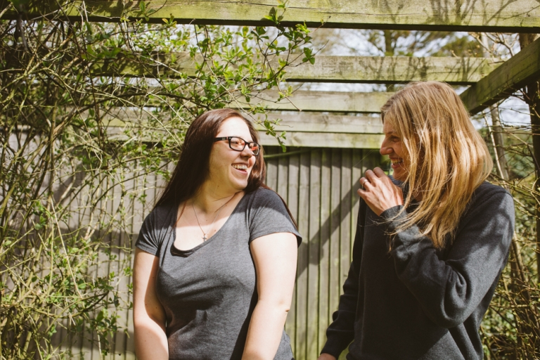 Brides laughing during engagement shoot in Buckinghamshire