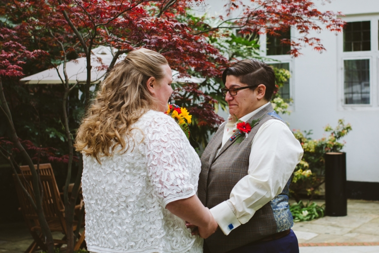 Emotional first look at Stationers' Hall wedding