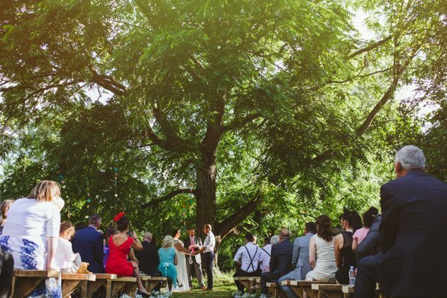Loudwater Farm Wedding Photography of outdoor humanist wedding ceremony