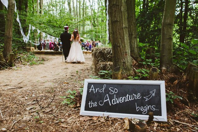 Squirrel Wood wedding photography of outdoor humanist wedding ceremony