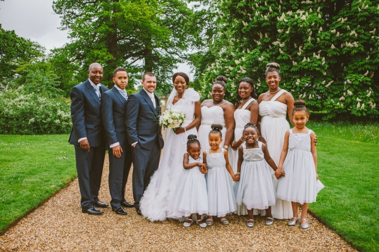 Group shot with children at Woburn Sculpture Gallery wedding