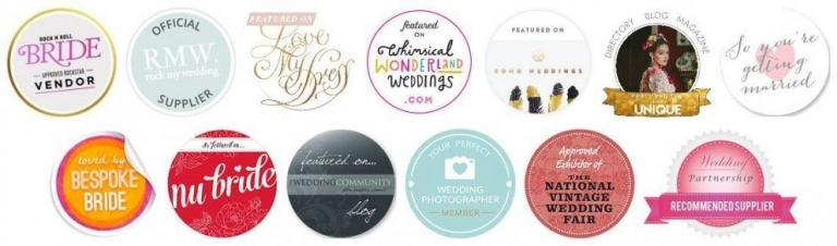 Wedding Blog Features Badges for wedding photographer in Hertfordshire