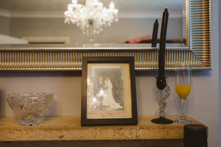 Photo of grandparents on their wedding day on mantlepiece