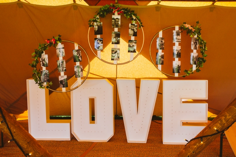 Love light letters with photo display at Tip Top Venues