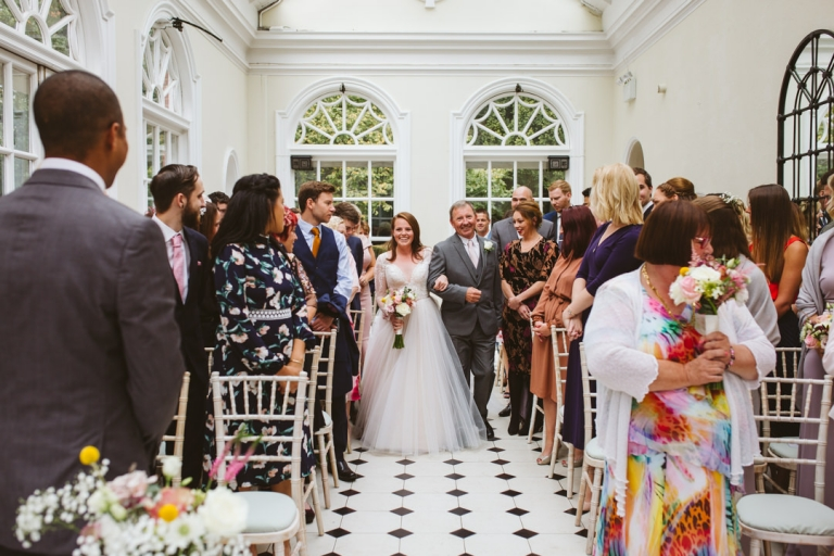 Bride walks down aisle at Hunton Park wedding ceremony