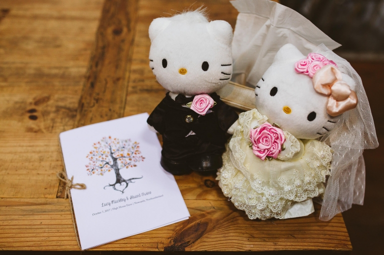 Hello Kitty bride and groom and Order of Service