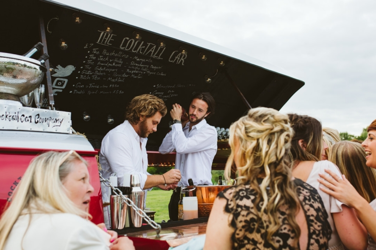 Cocktail VW bar at outdoor festival wedding for entertaining your wedding guests